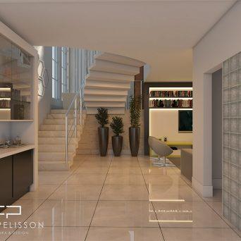 projeto decoração design interiores ambiente campinas swiss park home theater integrado escada
