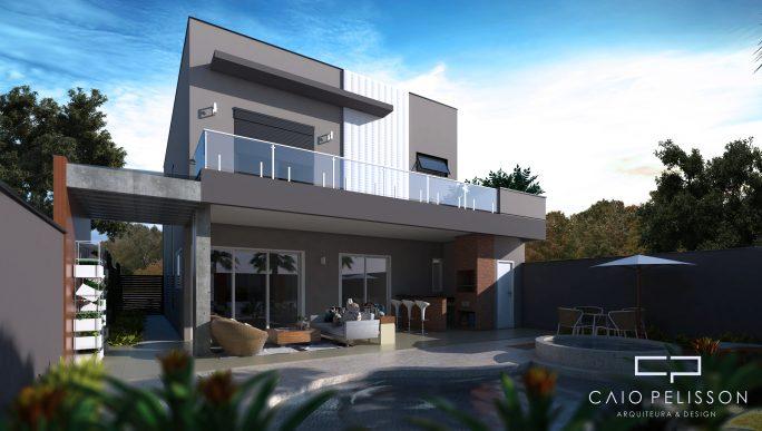 projeto sobrado moderno condomínio swiss park campinas terreno 12x30 3 suítes