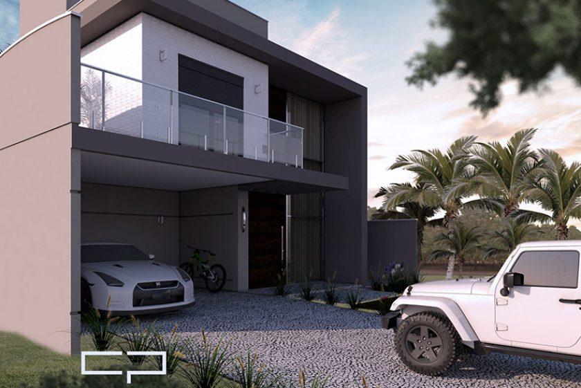 Projeto Sobrado terreno 12×30 swiss park campinas fachada moderna