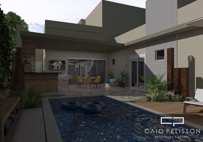 projeto casa térrea fachada moderna reta terreno 11x28 condomínio lazer