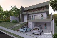 projeto casa arquitetura moderna terreno 12×25 130 metros 03 suítes aclive fundo desnível lateral