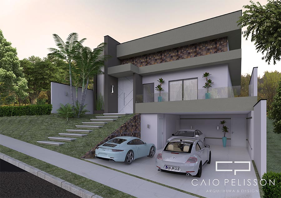 Projetos de casas com garagem subsolo subterr nea terreno for Fachadas de casas modernas a desnivel