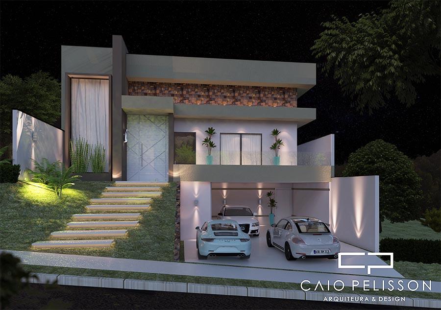 Projeto casa arquitetura moderna terreno 12x25 130 metros for Casa moderna 140 m2