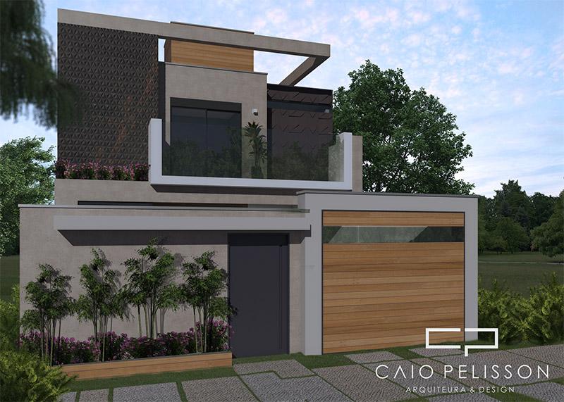 Projeto sobrado moderno 8x25 03 suites lazer integrado piscina for Casa moderna 8