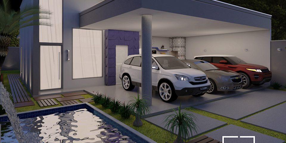 projeto casa terrea 10×25 arquitetura moderna garagem gourmet pe direito alto