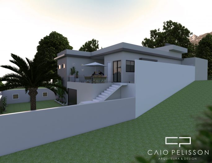 projeto casa térrea com terreno desnivel declive 15x30 itatiba campinas arquitetura moderna reta
