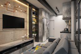 Projeto Apartamento Compacto Studio e-motion Estilo Industrial