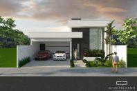 projeto planta residencial casa terrea fachada moderna branca pe direito alto terreno 12×25