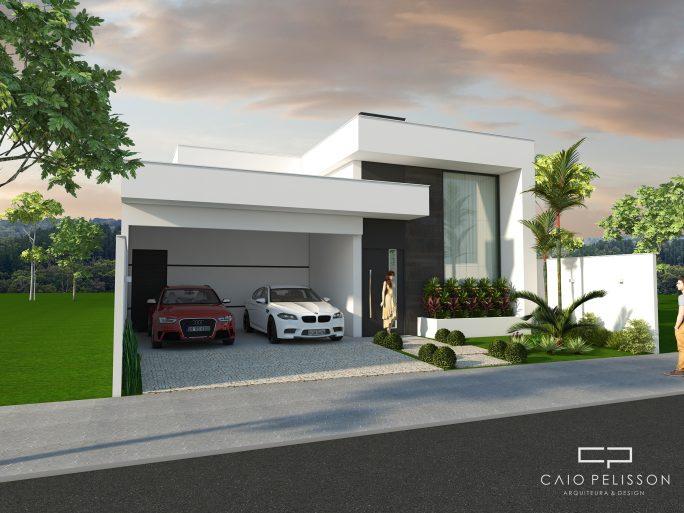 projeto planta residencial casa terrea fachada moderna branca pe direito alto terreno 12x25 pira
