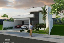 Fachada casa térrea moderna contemporânea terreno 12×25 tipo caixote