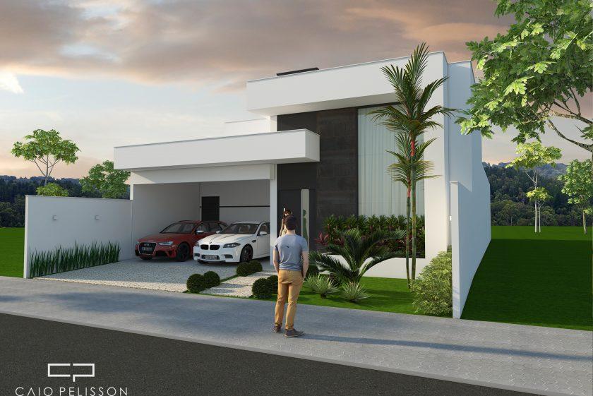 Fachada casa t rrea moderna contempor nea terreno 12x25 for Fachadas de casas contemporaneas modernas