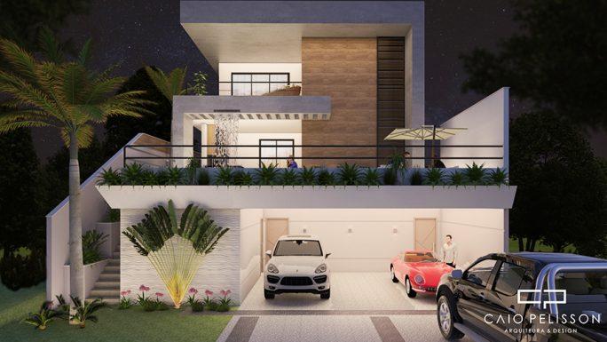 projeto casa sobrado terreno 13x30 aclive piscina fachada moderna bragança paulista
