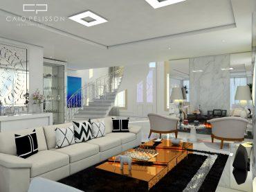 Projeto de decoração e Design de Interiores de Sala Estilo Neoclássica