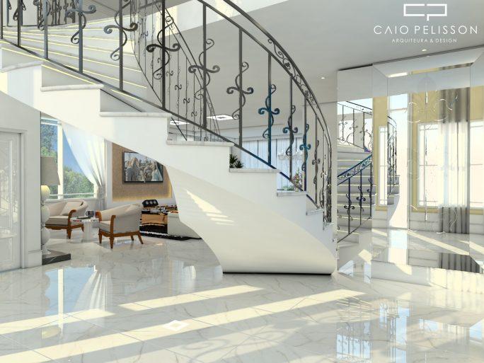 projeto sala pe direito duplo estilo neoclassica
