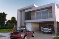 projeto sobrado moderno 300m2 terreno 15×30 alphaville campinas fachada reta