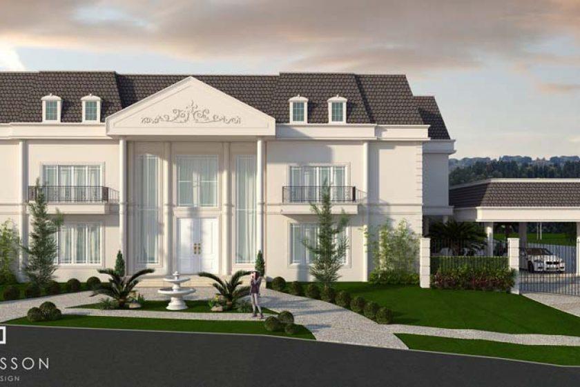 Fachada neocl ssica sobrado estilo franc s arquitetura for Fachada de la casa clasica