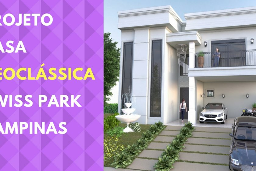 projeto casa neoclássica fachada reta terreno 12×30 swiss park campinas