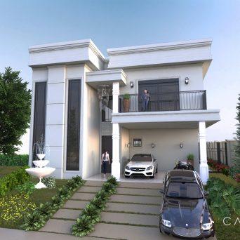 projeto casa sobrado mezanino fachada arquitetura neoclássica swiss park campinas
