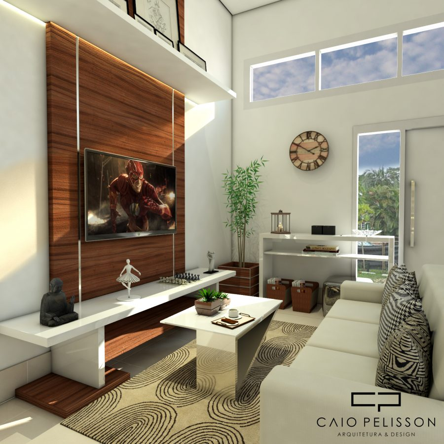 Projeto casa decorada moderna 5x25 projeto interiores for Casas pequenas interiores