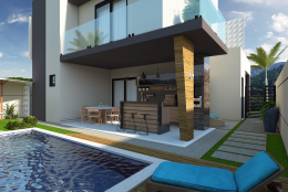 Casa térrea com pé direito duplo em Limeira-SP.Arquitetura contemporânea, com linhas retas e cores neutras.