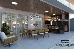 Area de lazer integrada com casa. Piscina com linhas orgânicas e arquitetura contemporânea com elementos modernistas.