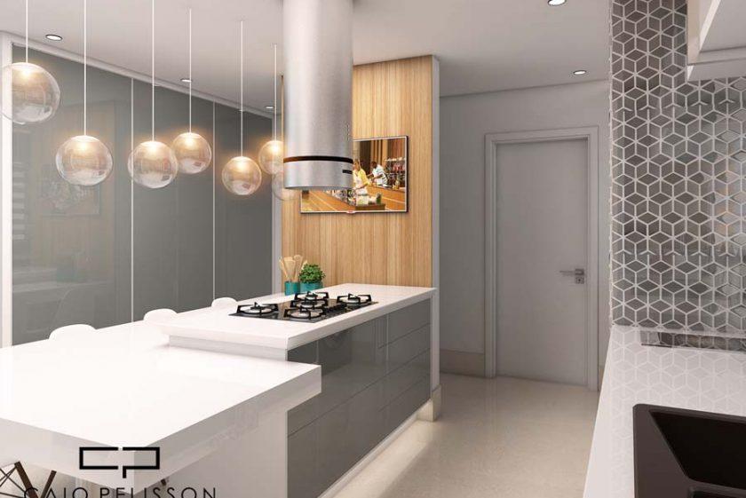 Cozinha com elementos clássicos e contemporâneos.