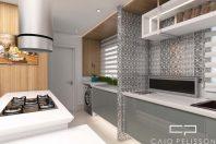 projeto decoração cozinha integrada apartamento ilha mesa balcão moderna