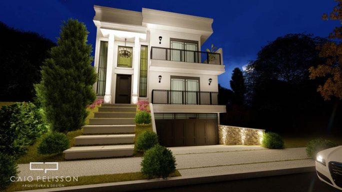 projeto sobrado triplex garagem subsolo estilo neoclássico Sorocaba golden 12x30