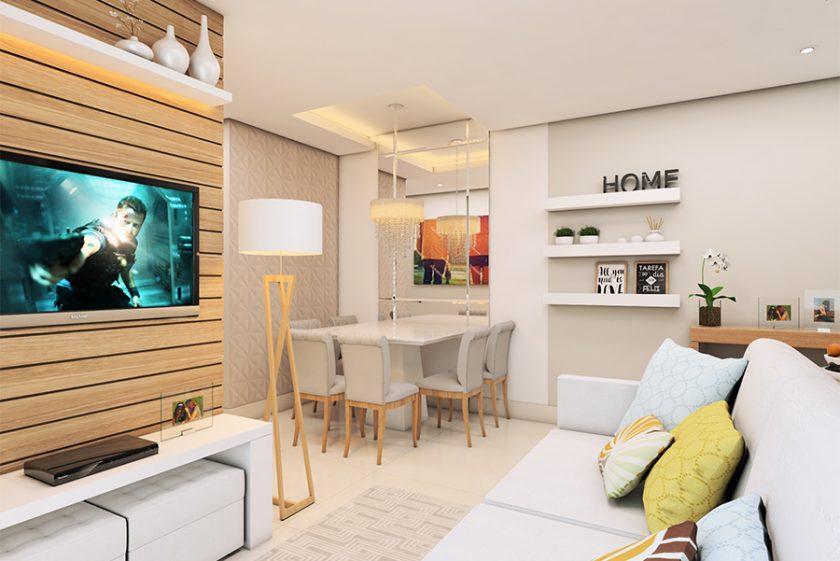 Projeto apartamento compacto moderno bom gosto 60 metros for Diseno de apartamento de 60m2