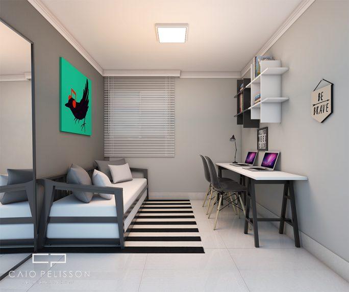 projeto apartamento compacto moderno bom gosto 60 metros decoração ambientes terrazzo limeira