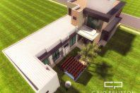 projeto planta casa térrea com mezanino fachada moderna contemporânea condomínio Hortolândia campinas