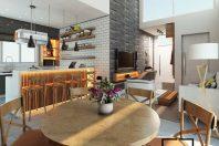 projeto decoracao casa terrea moderna teto alto inclinado estilo industrial urbano jovem