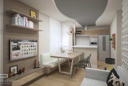 Apartamento Compacto MRV sala integrada cozinha Campinas Cachoeira das Pedras