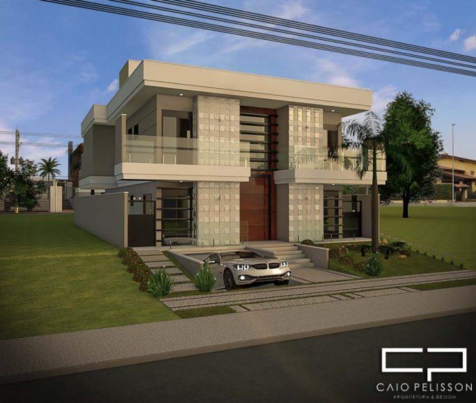 projeto sobrado moderno 10x25 garagem subsolo alto padrão condomínio Sorocaba
