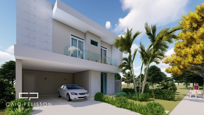 projeto sobrado moderno fachada reta terreno 10x25 terras sao bento limeira
