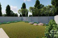 Planta Casa Terrea Terreno Aclive 12×30 Condominio Fundo Alto com Desnivel 3 suites Fachada Moderna