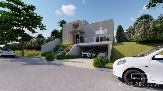 Planta Casa Terrea Terreno Aclive 12x30 Condominio Fundo Alto com Desnivel 3 suites Fachada Moderna