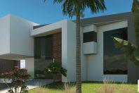 projeto casa futurista arquitetura modernista contemporanea fachada volumes reto garagem subsolo terreno declive condominio modern house