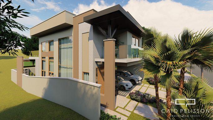 projeto casa sobrado moderno 12x30 terreno desnivel condominio flora milano modernista