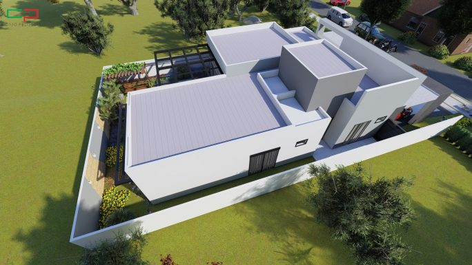 projeto casa terrea moderna caixote fachada reta alphaville campinas terreno aclive 15x30