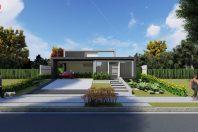 projeto casa terrea moderna caixote fachada reta alphaville campinas terreno aclive 15×30
