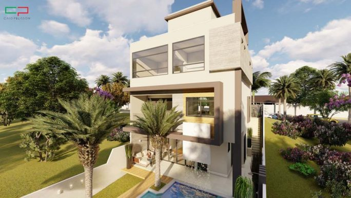 projeto sobrado 3 niveis aproveitamento terreno desnivel condominio porto sol valinhos alto padrao garagem subsolo