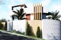 Casa Triplex em terreno de esquina Declive lateral garagem no subsolo caieiras SP fachada contemporanea