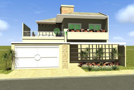 Projeto casa sobrado telhado aparente terreno comprido 10×60 250m2 03 suítes