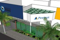projeto fachada comercial escola colégio pectrus hortolandia acm steellayer paisagismo