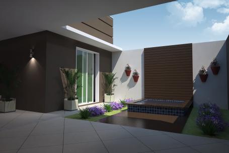 projeto 100 metros quadrados casa térrea fachada moderna quadrada telhado escondido terreno 8×20 arquiteto arquiteta