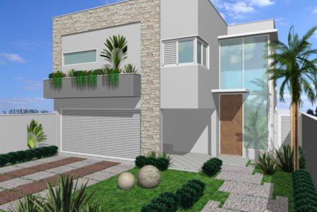 projeto arquitetura casa moderna contemporânea caixote fachada quadrada frente reta volumes arquiteto vinhedo condomínio terreno 12×30