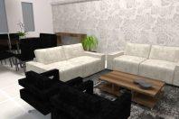 projeto interiores decoração sala living tv pé direito alto teto inclinado casa condomínio Roland