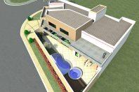 projeto planta casa térrea 160 metros terreno esquina canto aberto fachada arquitetura moderna condomínio arthur nogueira sp arquiteto arquiteta garagem canto