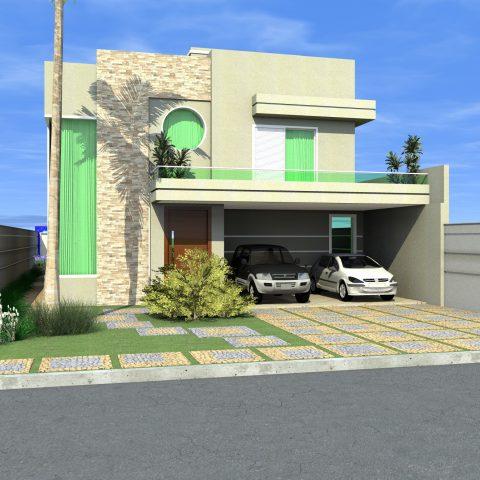 sobrado fachada reta arquitetura moderna contemporânea janela canto varanda redonda